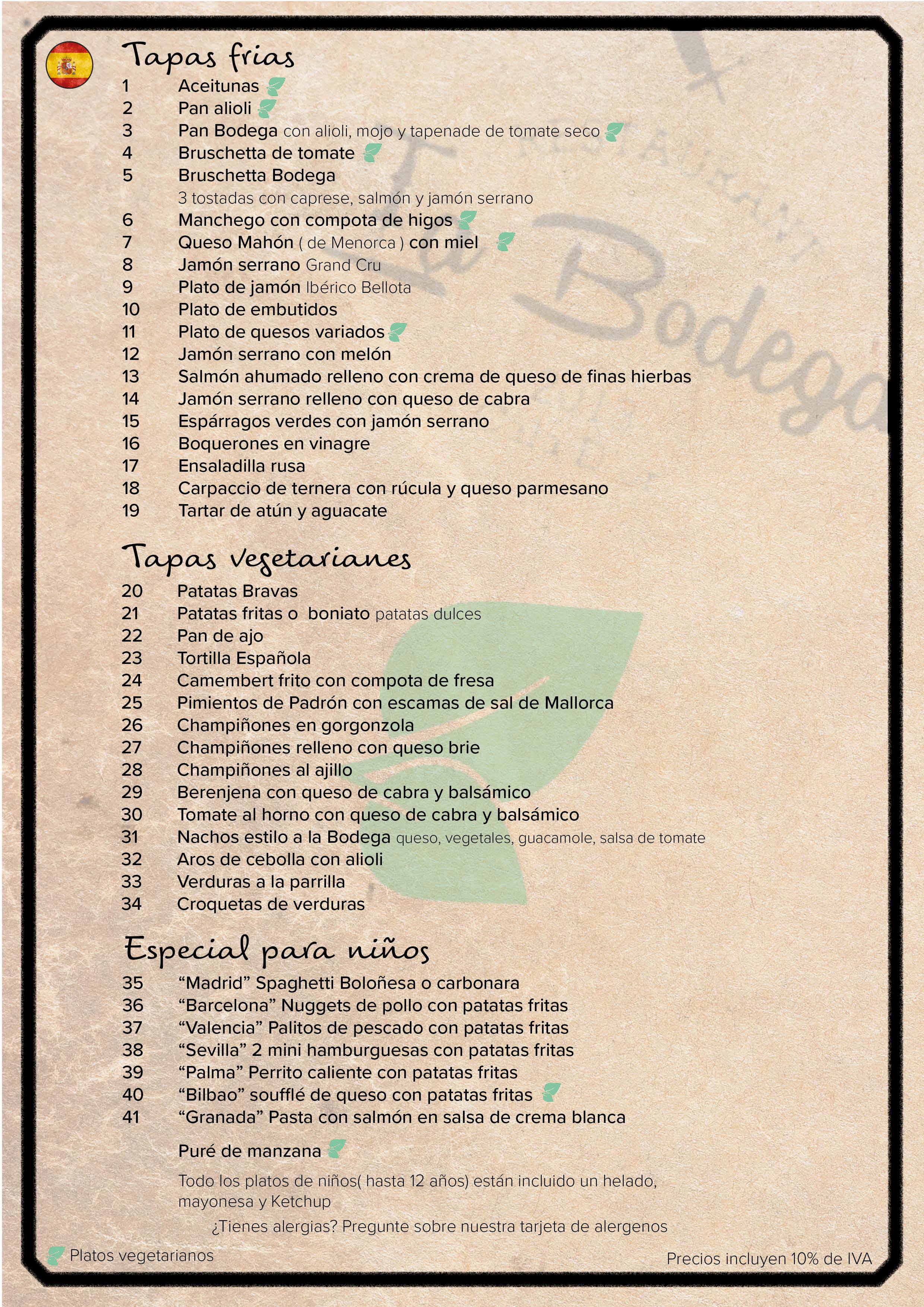 La Bodega - Menu Spaans - website